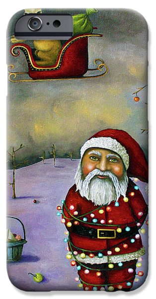 Christmas Tree iPhone Cases - Sleigh Jacker iPhone Case by Leah Saulnier The Painting Maniac