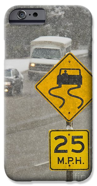 Freeze Warning iPhone Cases - Slippery When Wet Road Sign iPhone Case by Thom Gourley/Flatbread Images, LLC