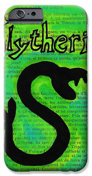 Mix Medium Drawings iPhone Cases - Slytherin Snake iPhone Case by Jera Sky
