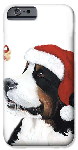 Painter Paintings iPhone Cases - Smile its Christmas iPhone Case by Liane Weyers