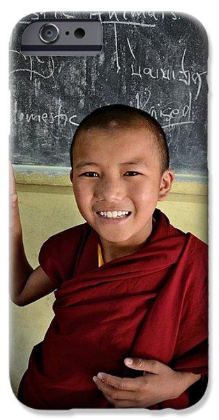 Tibetan Buddhism iPhone Cases - Smiley Monk iPhone Case by Valerie Rosen