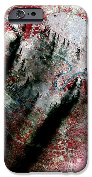 Smoke Plumes Over Baghdad, Iraq iPhone Case by NASA / Science Source