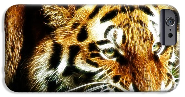 Tiger Fractal iPhone Cases - Snarling Tiger iPhone Case by Darleen Stry