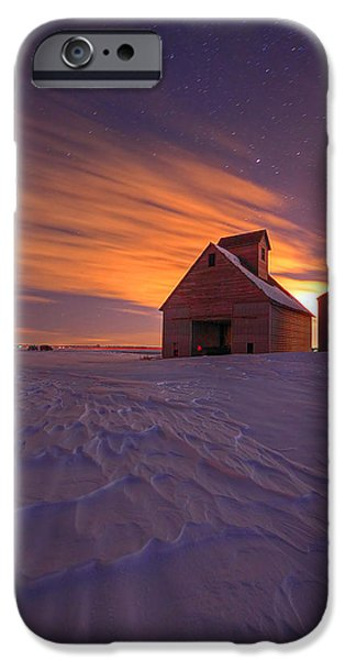 Snowy Night iPhone Cases - Snow Bound Barn iPhone Case by Chris  Allington