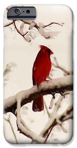 Snow Cardinal iPhone Case by Janet Pugh