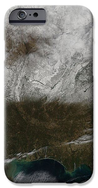 Snow Cover Stretching From Northeastern iPhone Case by Stocktrek Images