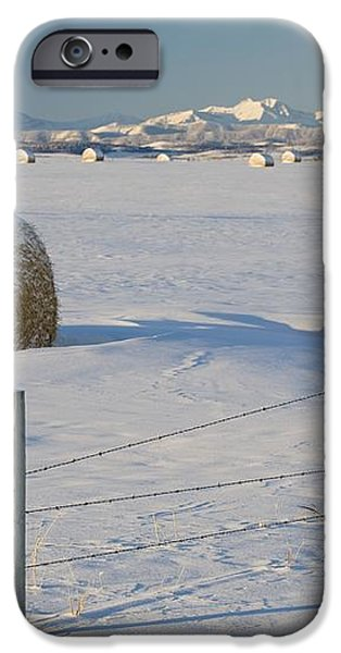 Snow Covered Hay Bales In A Snow iPhone Case by Michael Interisano