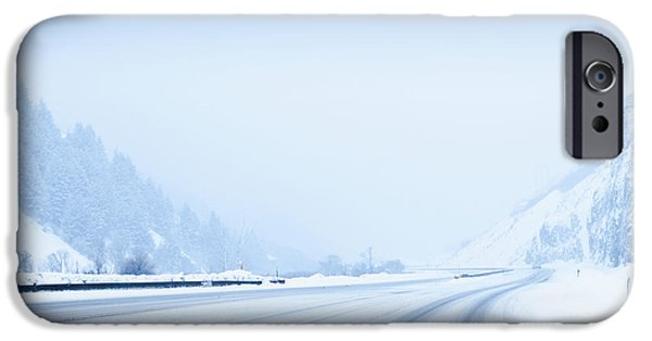 Snowy Day iPhone Cases - Snow-Covered Road iPhone Case by Dave & Les Jacobs
