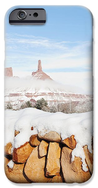 Snow Covered Rock Wall iPhone Case by Thom Gourley/Flatbread Images, LLC
