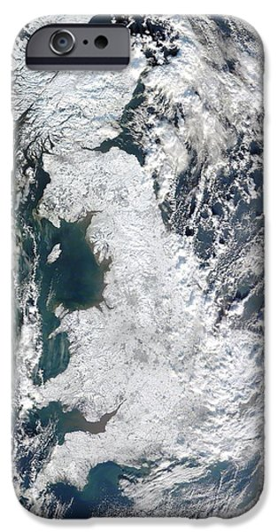 Winter Storm iPhone Cases - Snow-covered United Kingdom, January 2010 iPhone Case by Nasagsfc, Modis Rapid Response