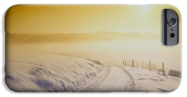 Snowscape iPhone Cases - Snow Covering Exmoor At Sunset, Winter 1991 iPhone Case by Tony Craddock