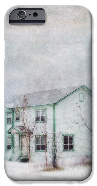 Fall Scenes iPhone Cases - Snow Flurry round My Neighbors House iPhone Case by Priska Wettstein
