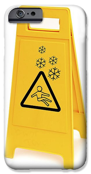 Freeze Warning iPhone Cases - Snow Hazard Warning Sign iPhone Case by Lth Nhs Trust