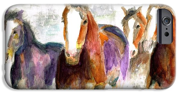 Horse iPhone Cases - Snow Horses iPhone Case by Frances Marino