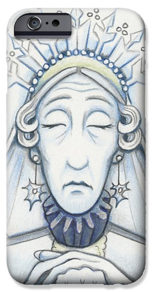 Aceo iPhone Cases - Snow Queen Mum Slumbers iPhone Case by Amy S Turner