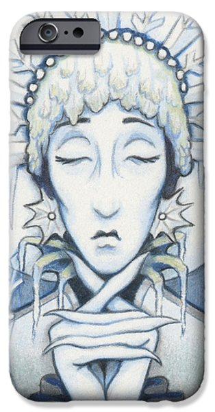 Aceo iPhone Cases - Snow Queen Slumbers iPhone Case by Amy S Turner