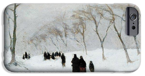 19th Century iPhone Cases - Snow Storm iPhone Case by Anton Mauve