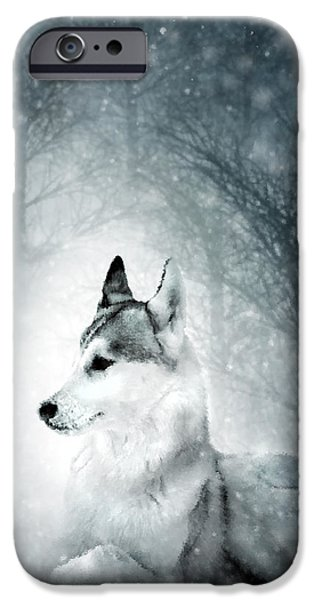 Snowy Mixed Media iPhone Cases - Snow Wolf iPhone Case by Svetlana Sewell