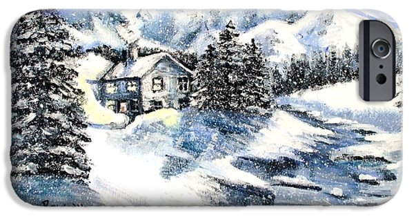 Cabin Window Paintings iPhone Cases - Snowed In iPhone Case by Shana Rowe