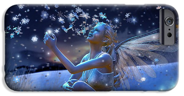 Evening Digital Art iPhone Cases - Snowflake iPhone Case by Karen H