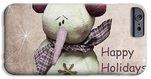 The Houses Mixed Media iPhone Cases - Snowman Greeting Card iPhone Case by David Dehner