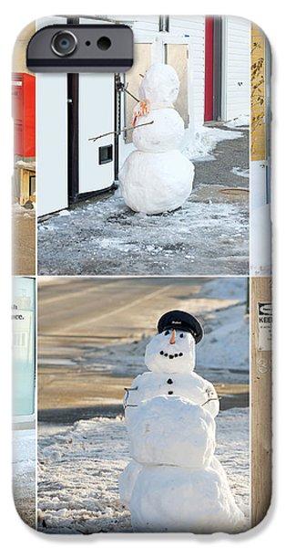 Snowmen Antics. iPhone Case by Kelly Nelson