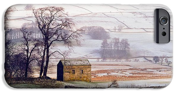 Snowy Day iPhone Cases - Snowy Landscape With Barn, Elevated View iPhone Case by Axiom Photographic