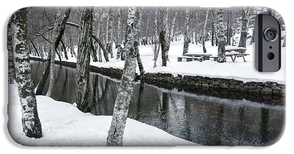 White River Scene Photographs iPhone Cases - Snowy Park iPhone Case by Carlos Caetano