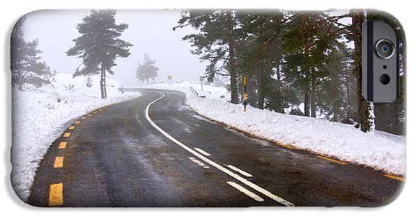 Asphalt iPhone Cases - Snowy road iPhone Case by Carlos Caetano