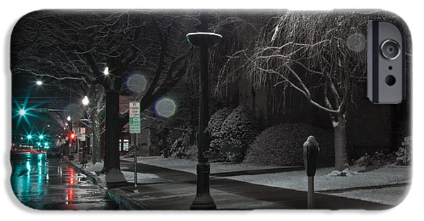 Winter Storm iPhone Cases - Snowy Sidewalk Street Lamp iPhone Case by John Stephens