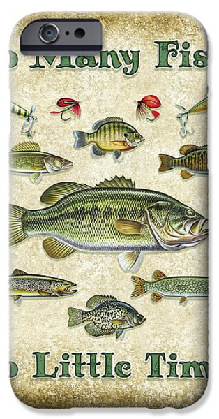 Trout Paintings iPhone Cases - So Many Fish Sign iPhone Case by JQ Licensing