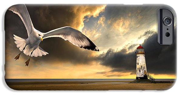 Flying Seagull iPhone Cases - Soaring Inshore iPhone Case by Meirion Matthias