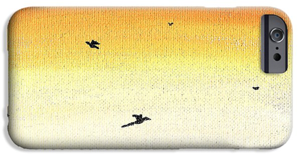 Soaring Paintings iPhone Cases - Soaring Sunset 2 iPhone Case by Jera Sky