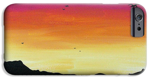 Soaring Paintings iPhone Cases - Soaring Sunset iPhone Case by Jera Sky