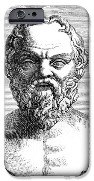 Statue Portrait iPhone Cases - Socrates, Ancient Greek Philosopher iPhone Case by