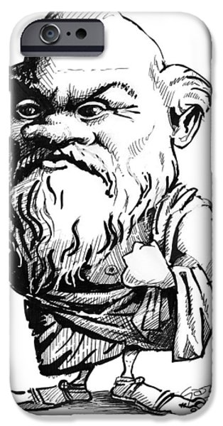 Orator iPhone Cases - Socrates, Caricature iPhone Case by Gary Brown