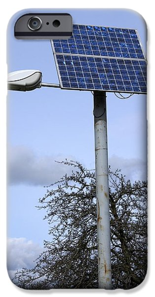 Solar Powered Street Light, Uk iPhone Case by Mark Williamson