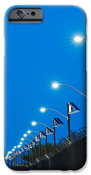 Electrical Equipment iPhone Cases - Solar Powered Street Lights iPhone Case by David Nunuk