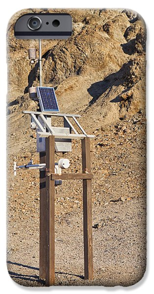 Power Industry iPhone Cases - Solar Powered Weather Station In Death iPhone Case by Bryan Mullennix