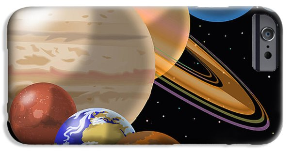 Montage Drawings iPhone Cases - Solar System iPhone Case by Mark Giles and Photo Researchers