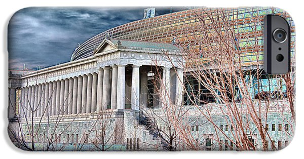 Soldier Field iPhone Cases - Solarized Stadium iPhone Case by David Bearden