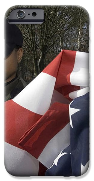 Soldier Unfurls A New Flag For Posting iPhone Case by Stocktrek Images