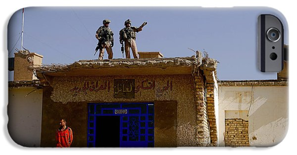 Baghdad iPhone Cases - Soldiers Discuss The New Iraqi Police iPhone Case by Stocktrek Images