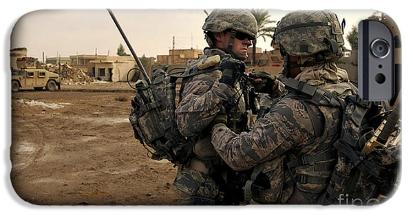 Baghdad iPhone Cases - Soldiers Help One Another iPhone Case by Stocktrek Images