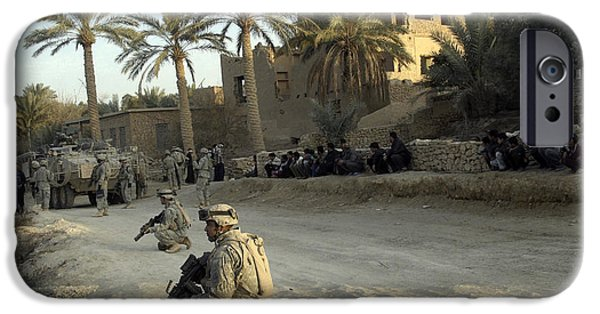 Iraq iPhone Cases - Soldiers Of The U.s. Army Provide iPhone Case by Stocktrek Images
