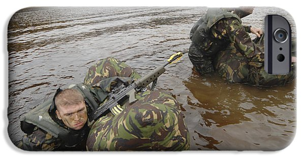 Physical Exhaustion iPhone Cases - Soldiers Participate In A River iPhone Case by Andrew Chittock