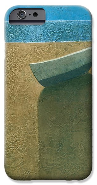 Beach Landscape Paintings iPhone Cases - Solitary Boat iPhone Case by Steve Mitchell