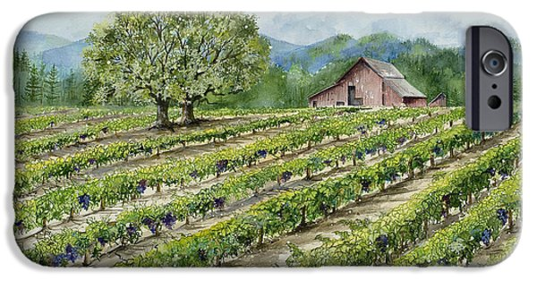 Vineyard Prints iPhone Cases - Sonoma County Vineyard iPhone Case by Virginia McLaren
