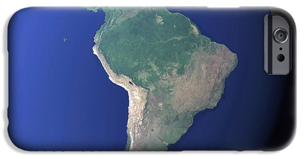 Terrestrial Sphere iPhone Cases - South America iPhone Case by Stocktrek Images