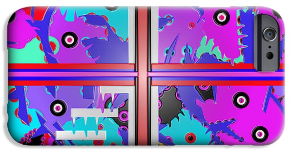 Abstract Digital Drawings iPhone Cases - South beach Miami  iPhone Case by Robert Margetts